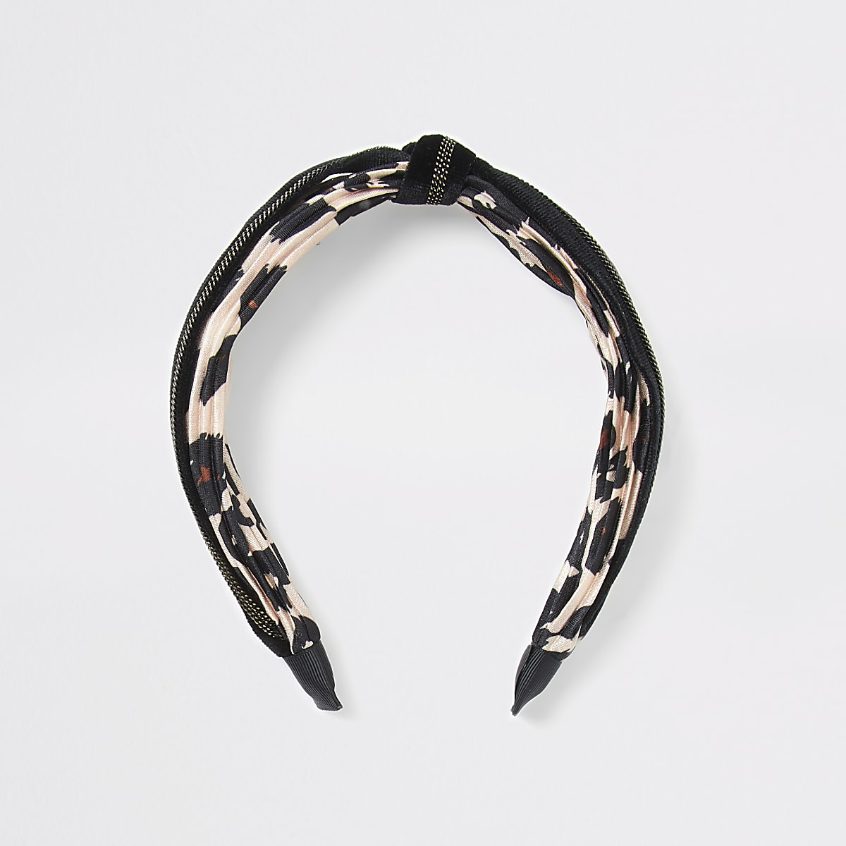 Beige leopard print knot headband