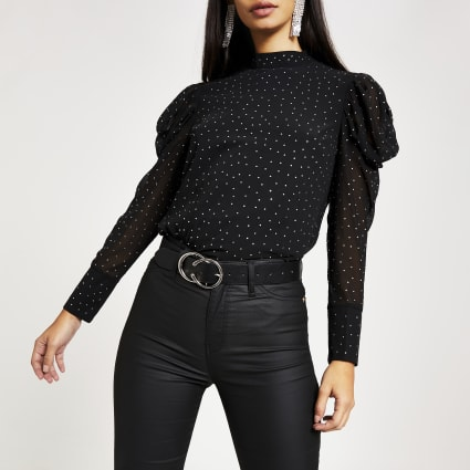 Black diamante long puff sleeve top