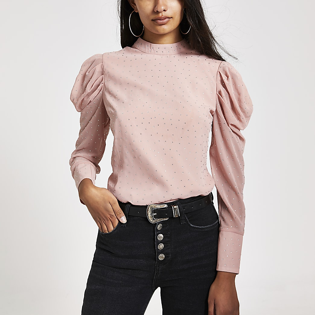 Pink diamante long puff sleeve top