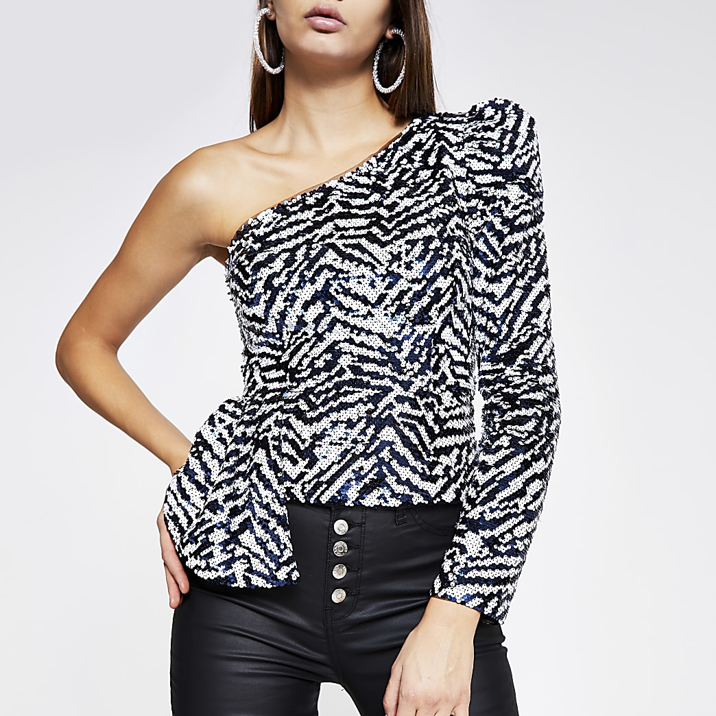 Navy printed sequin one shoulder top