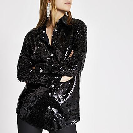 Black sequin embellished long sleeve shirt