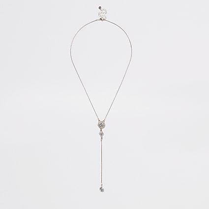 Rose gold colour drop diamante pendant