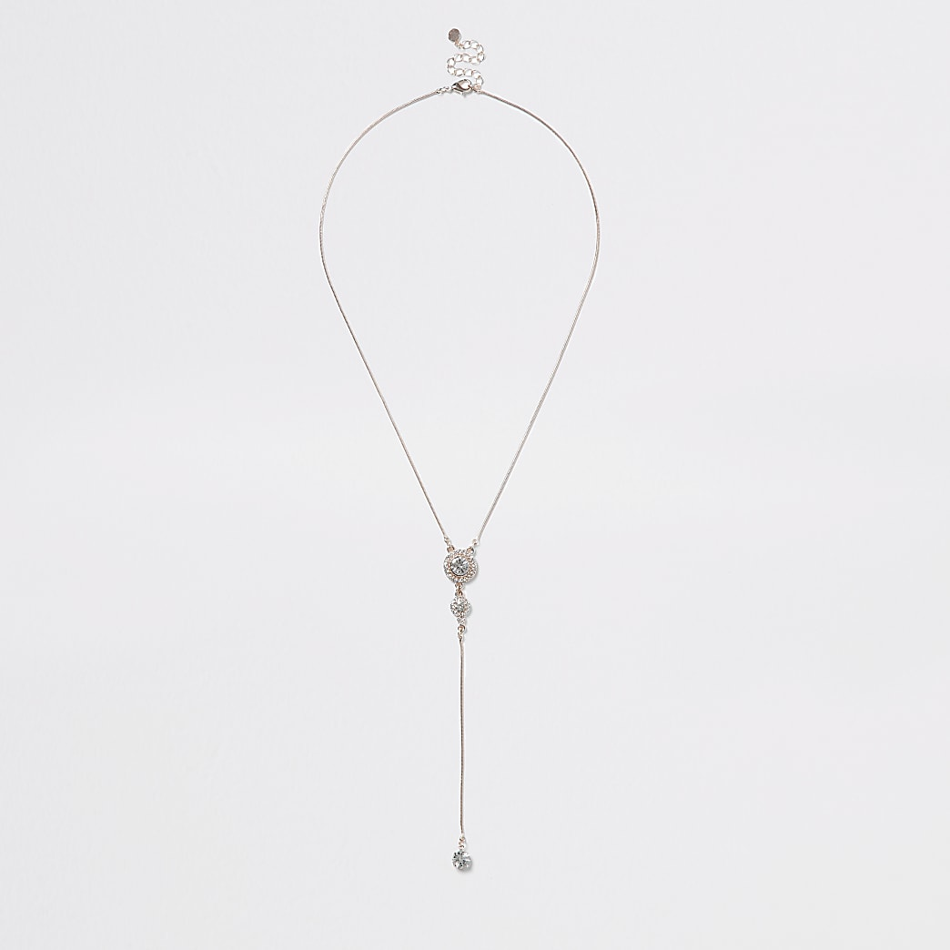 Rose gold colour drop diamante pendant