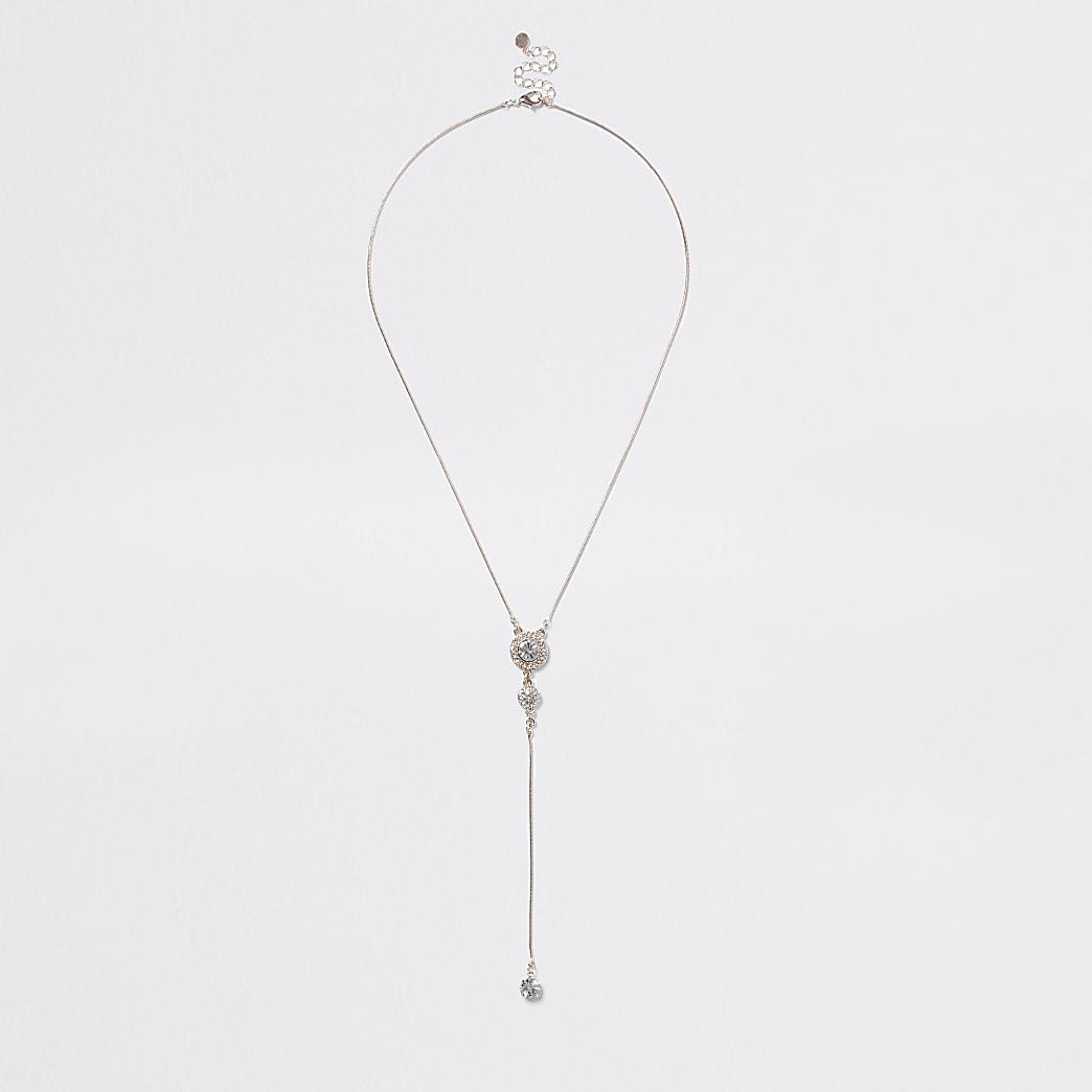 Roségoudkleurige ketting  met druppelvormige siersteentjes hangers