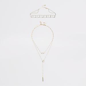 Mehrreihige Choker-Halskette im Set