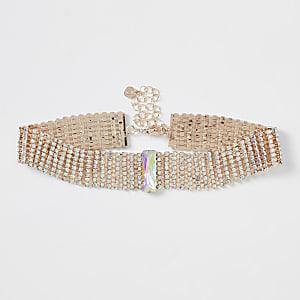 Rose gold colour diamante embellished choker