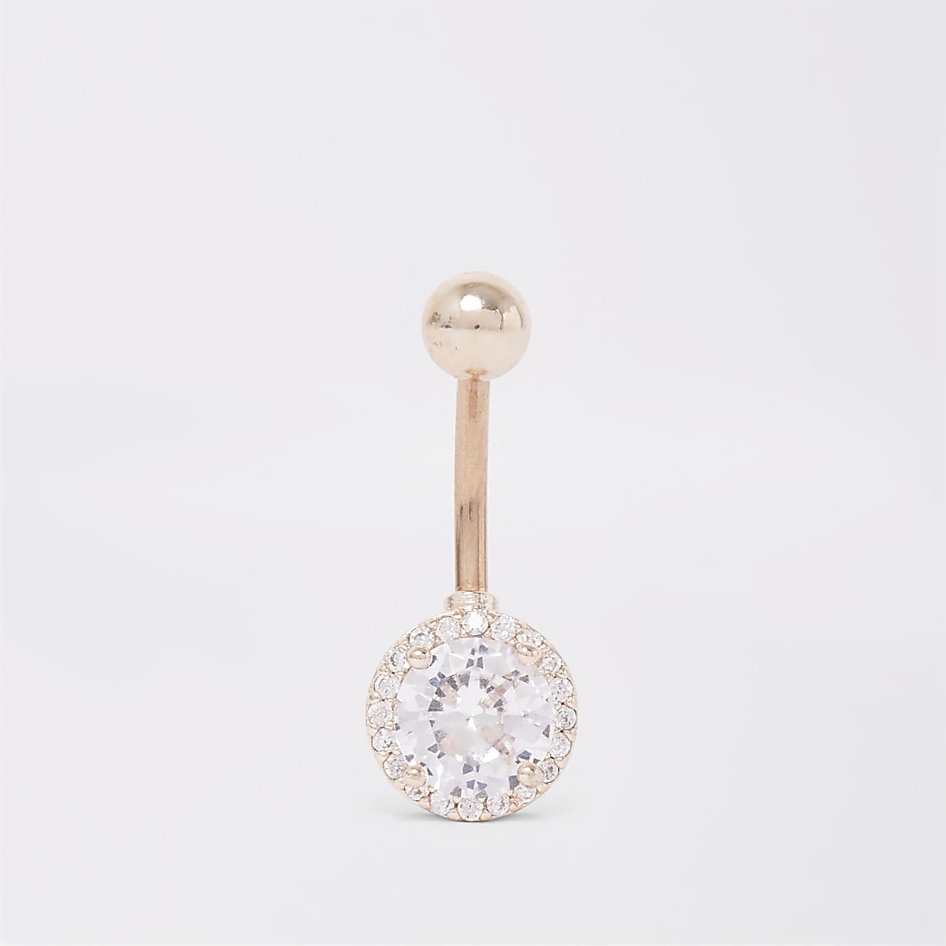Rose gold colour crystal circle belly bar