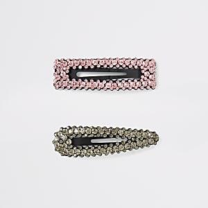 Haarspangen in Schwarz und Pink, Set