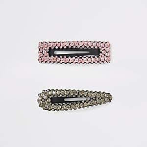 Black and pink diamante multipack hair clip