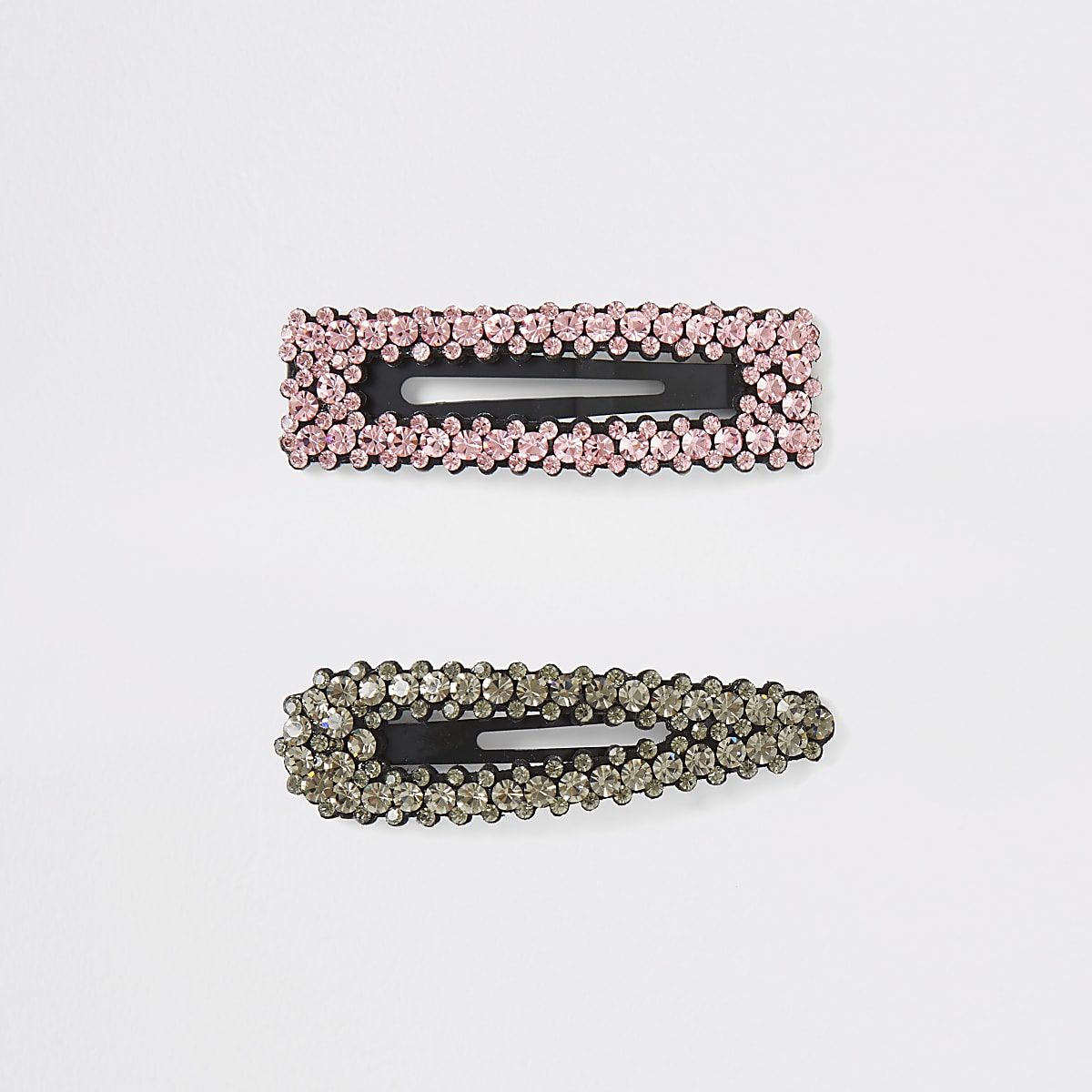 Black and pink diamante multipack hair clip