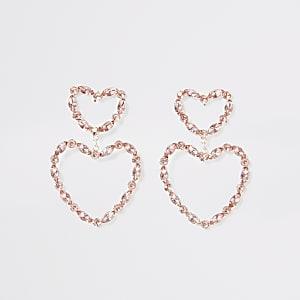 Pendants d'oreilles cœurs avec pierre colorée façon or rose