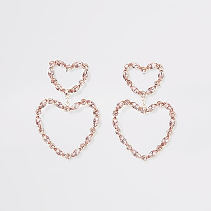 Rose gold colour gem heart drop earrings