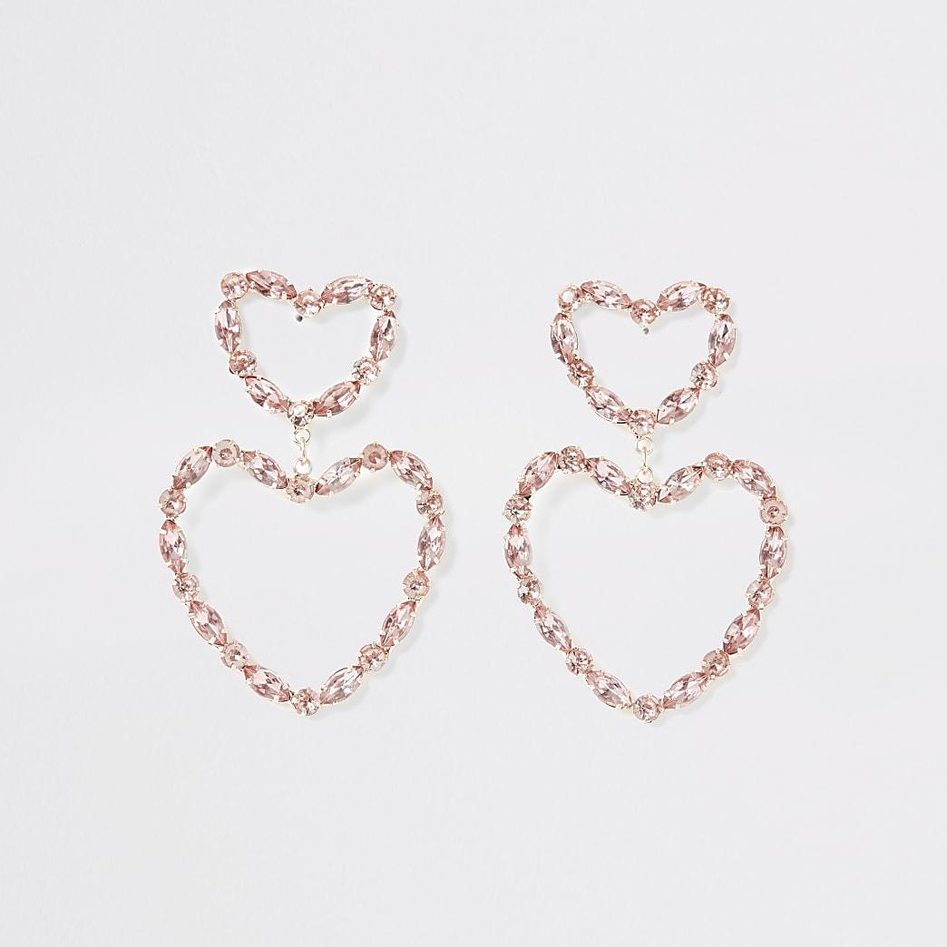 Roségoudkleurige hartvormige oorhangers met sierteentjes