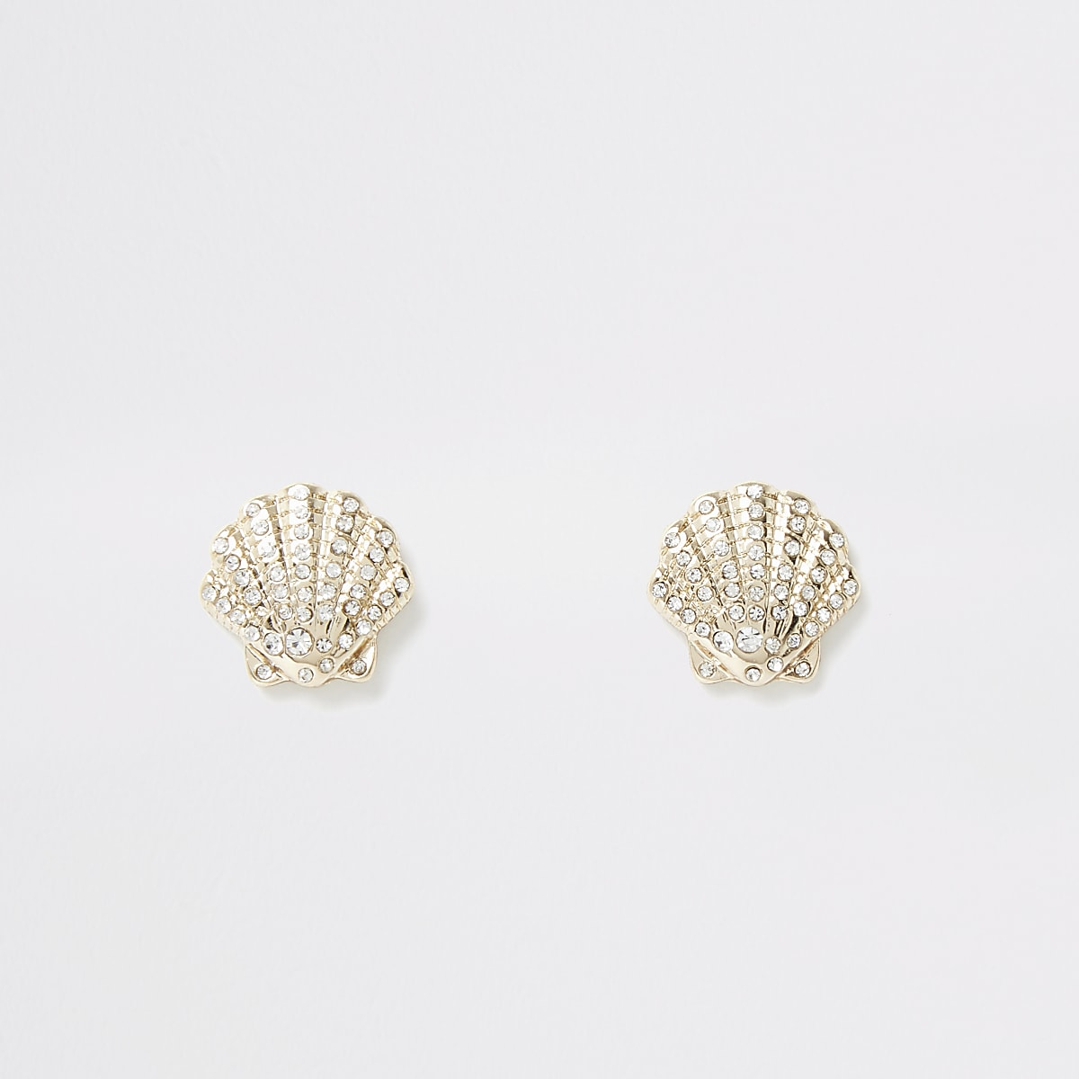 Gold colour pave diamante shell earrings