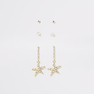 Gold starfish earring multipack