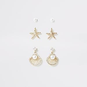 Gold colour shell stud earring multipack