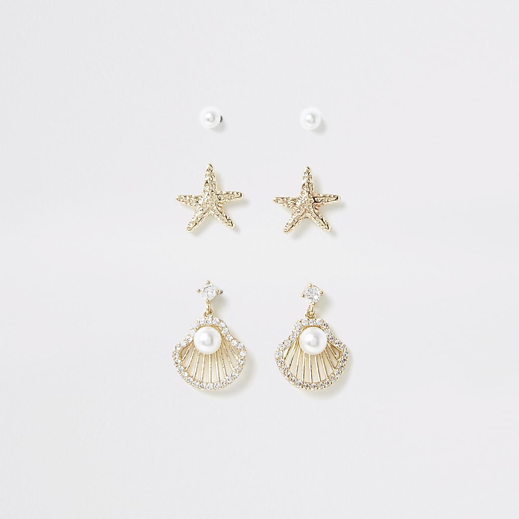 Gold colour shell stud earring multipack