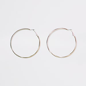 Pink colour ombre hoop earrings