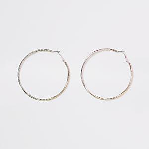 Pink colour ombre hoop earrings