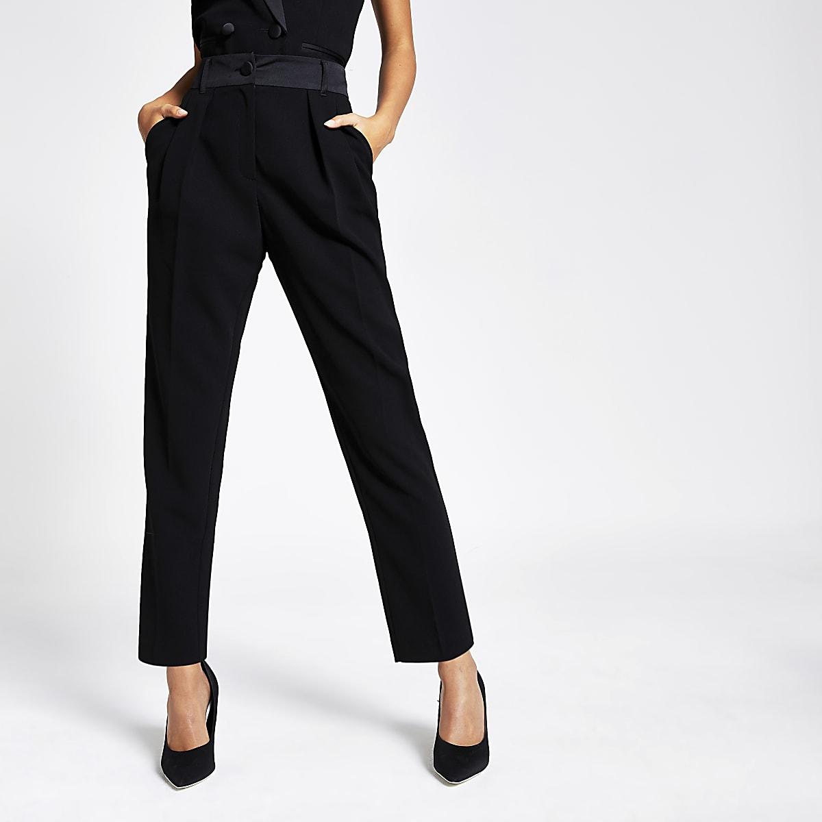 Black tux high waisted peg trousers