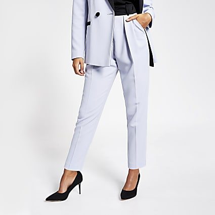 Blue satin tux peg trousers