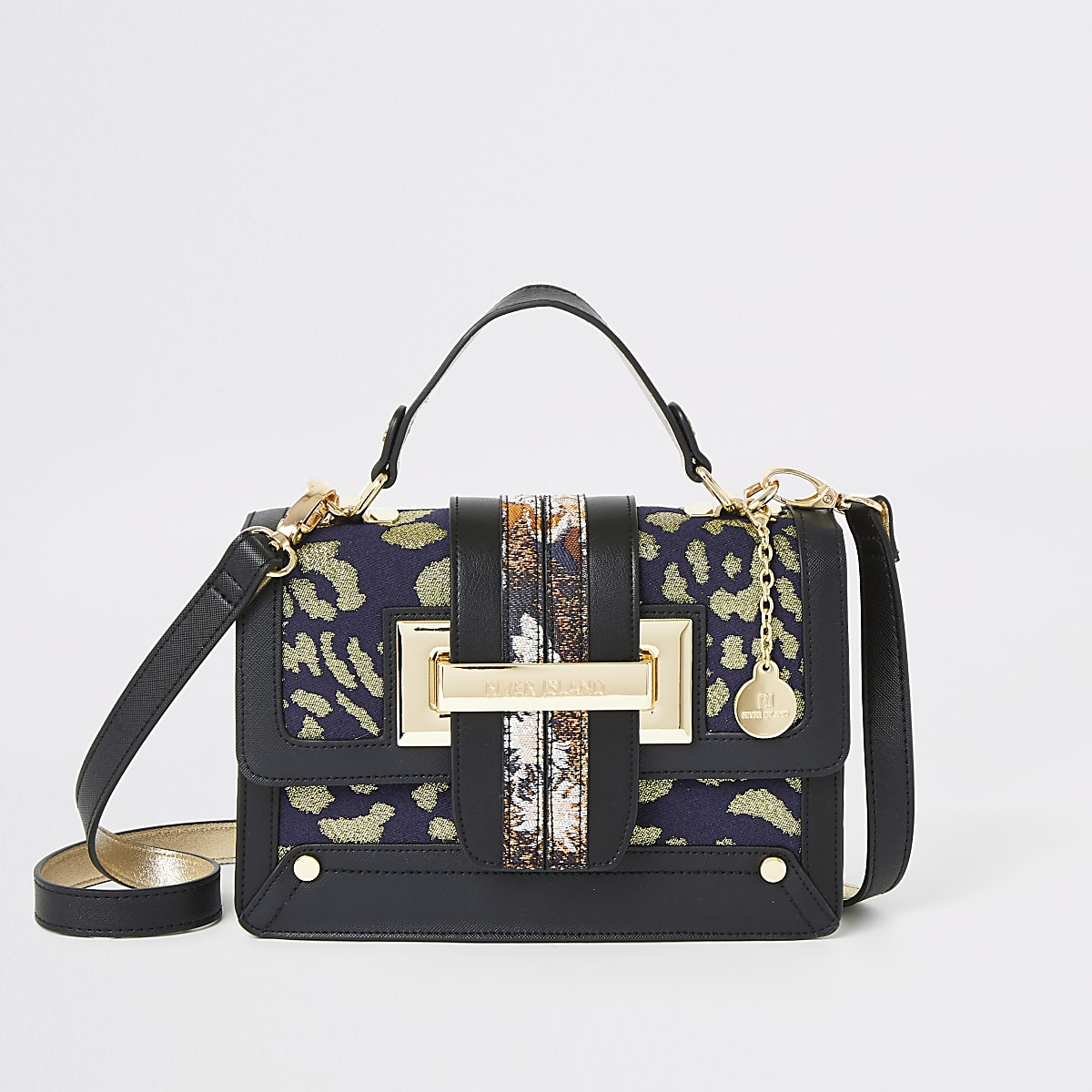 Navy jacquard tote cross body bag