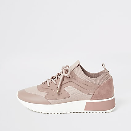 Pink rubber panel cleated runner trainers