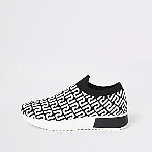 Schwarze Lauf-Sneaker mit RI-Monogramm