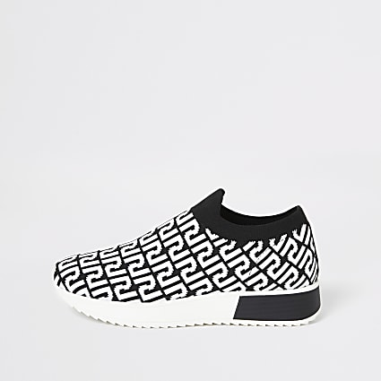 Black RI monogram runner trainers
