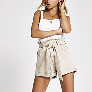 Cream paperbag belted denim shorts
