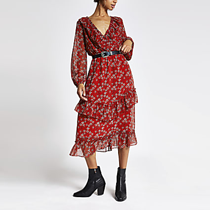 Red floral print frill wrap dress