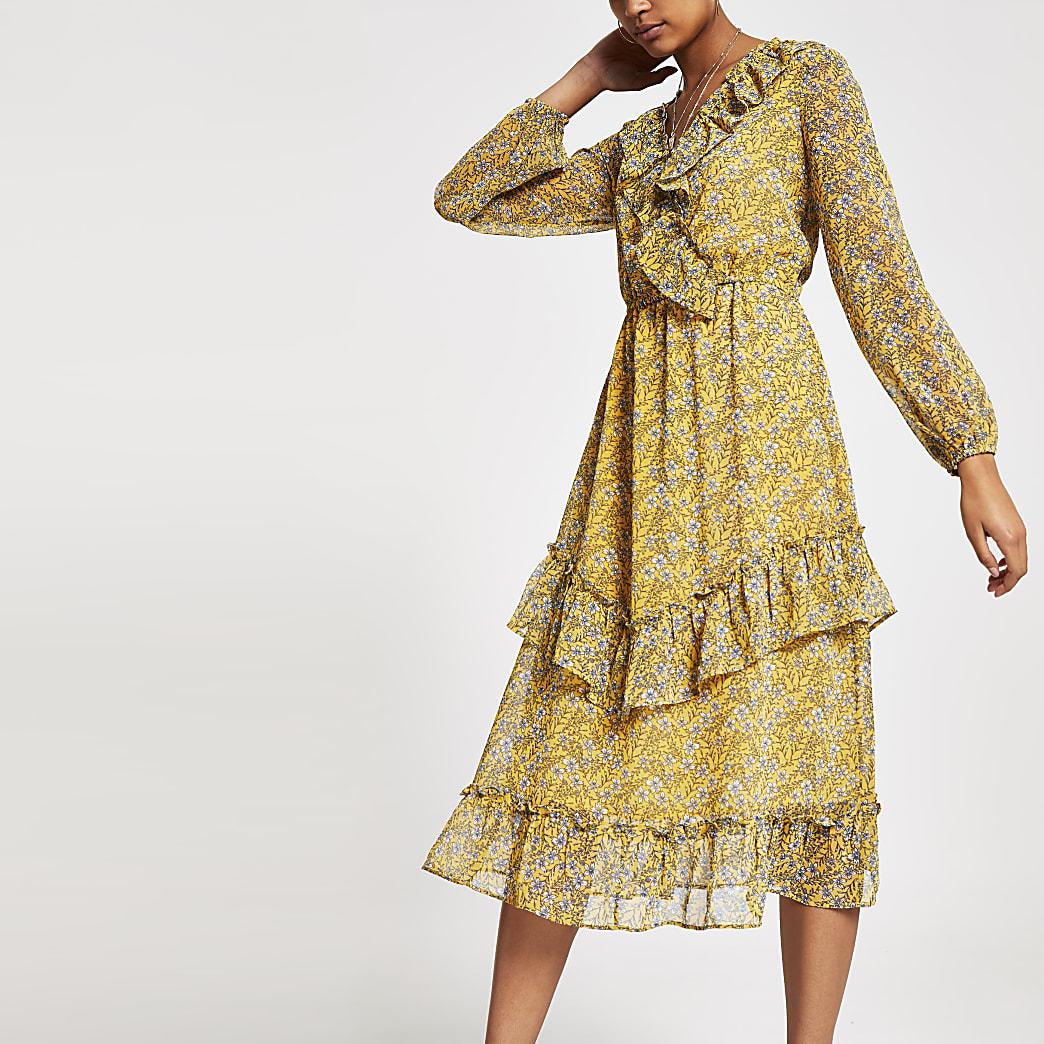 Yellow floral print frill wrap dress