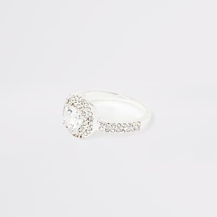 Silver colour diamante pave circle ring