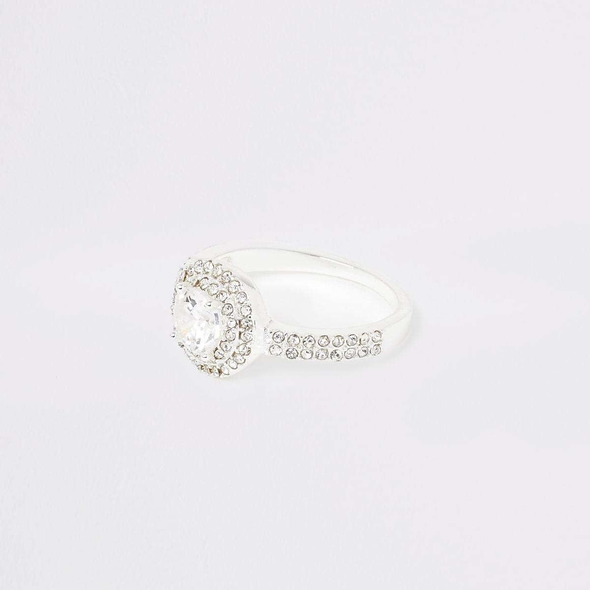 Silver colour diamante pave circle ring