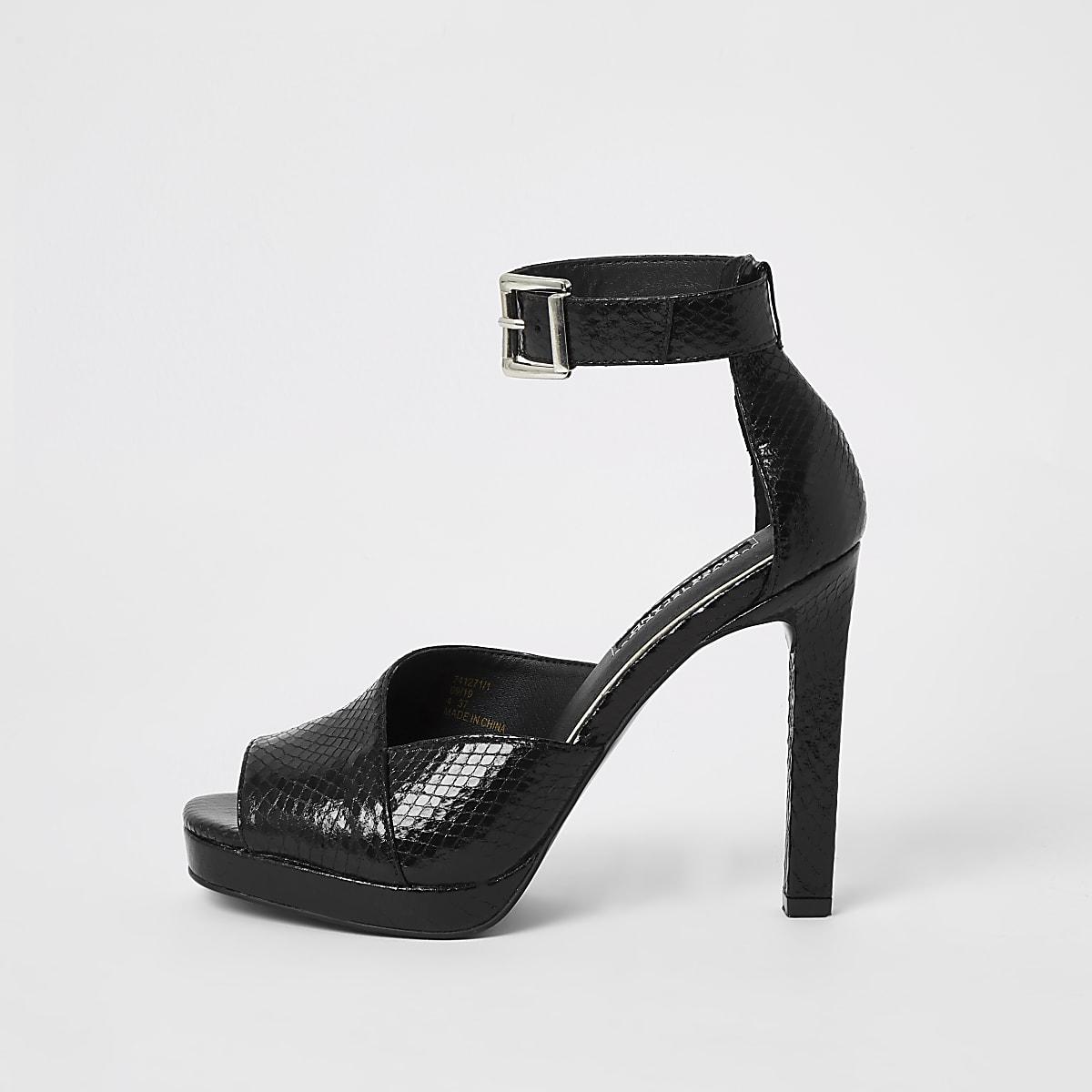 Black croc embossed platform sandals