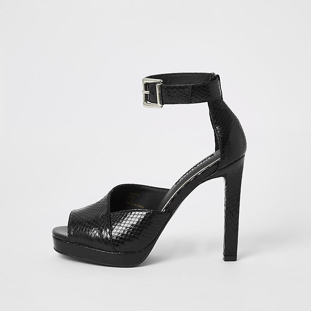 Sandales plateforme noires effet croco en relief