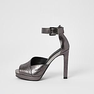 Zilverkleurig metallic sandalen met plateauzool