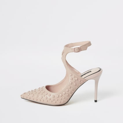 Pink studded cut out pointed court shoe
