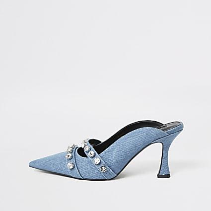 Blue denim embellished flare heel mule sandal