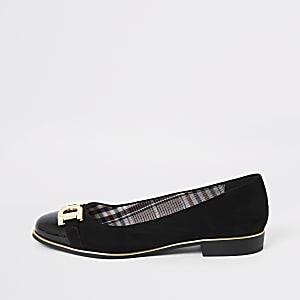 Zwarte balletschoenen met brede pasvorm en trens voor