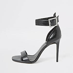 Schwarze Wide Fit Sandale mit Strass und Schnalle