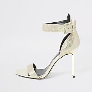 Goldfarbene Wide Fit Sandale mit Strass und Schnalle