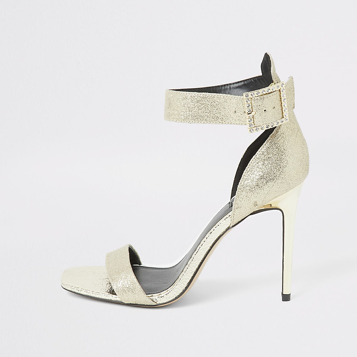 Gold diamante buckle wide fit sandal