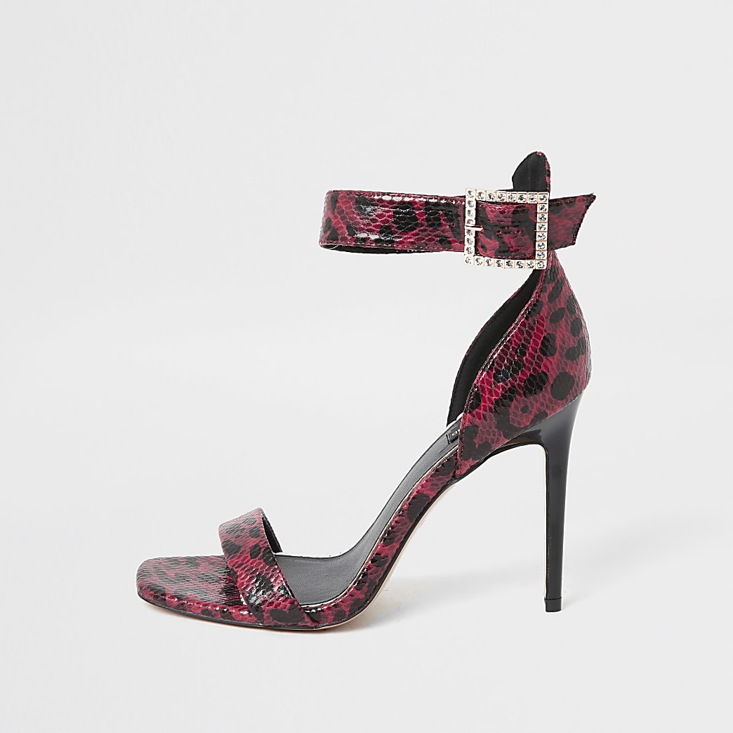 Red snake print barely there wide fit sandals