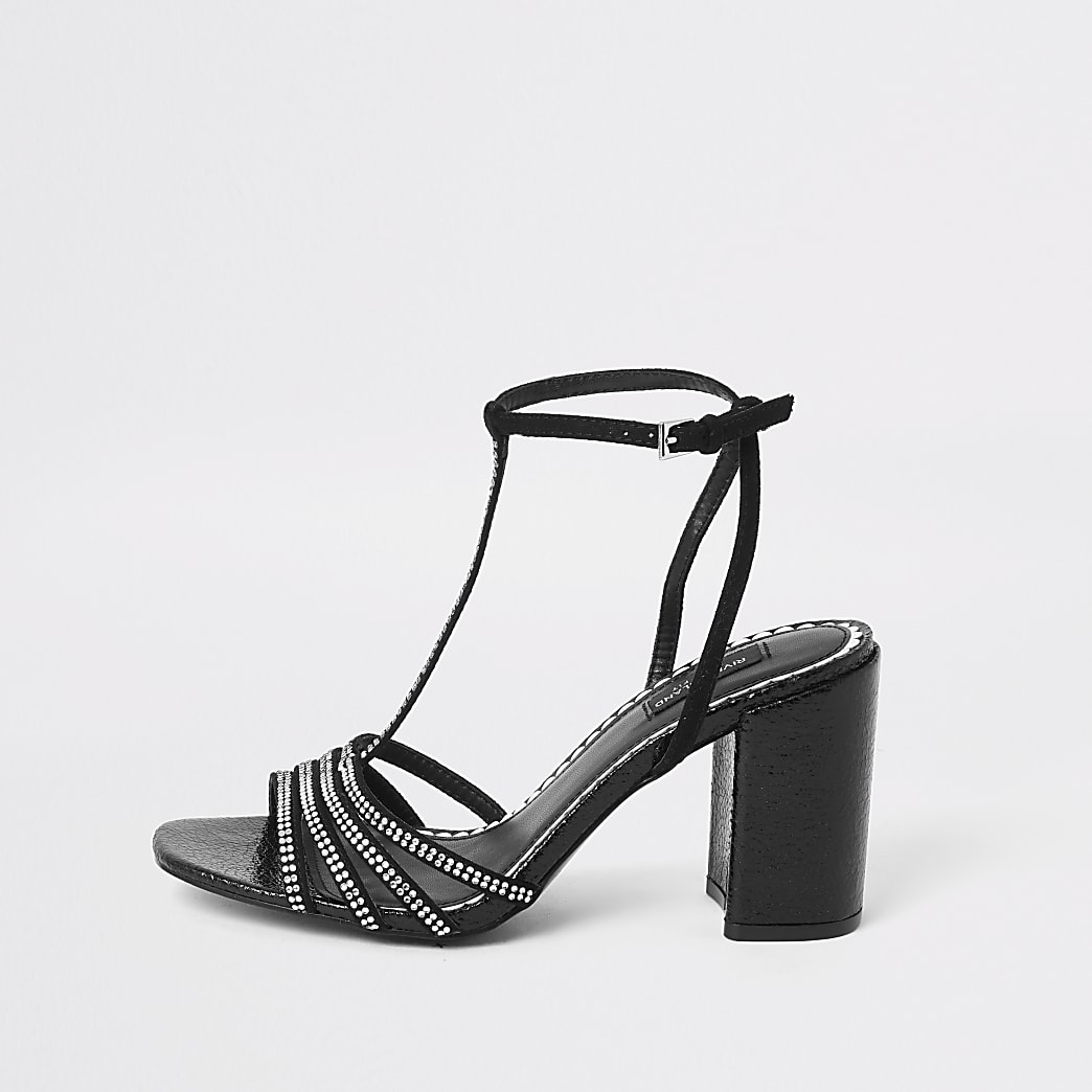 Black diamante T-bar wide fit heeled sandals