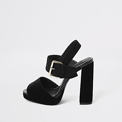 Black velvet wide fit platform heel sandals