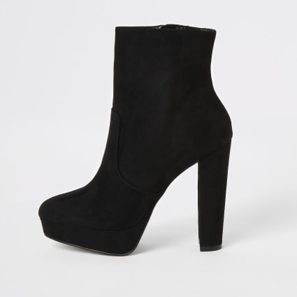 Black faux suede platform heeled boots