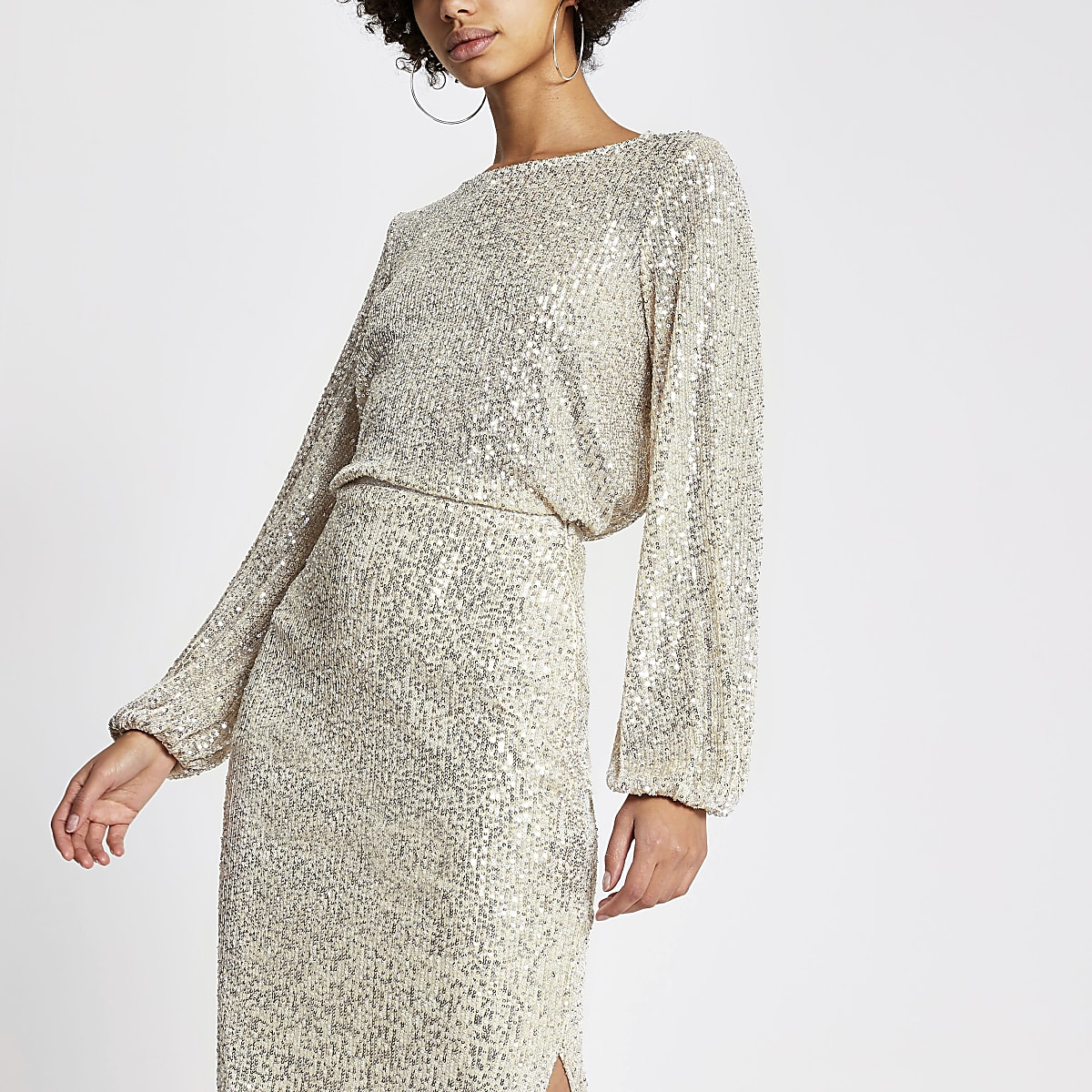 Silver sequin long sheer balloon sleeve top