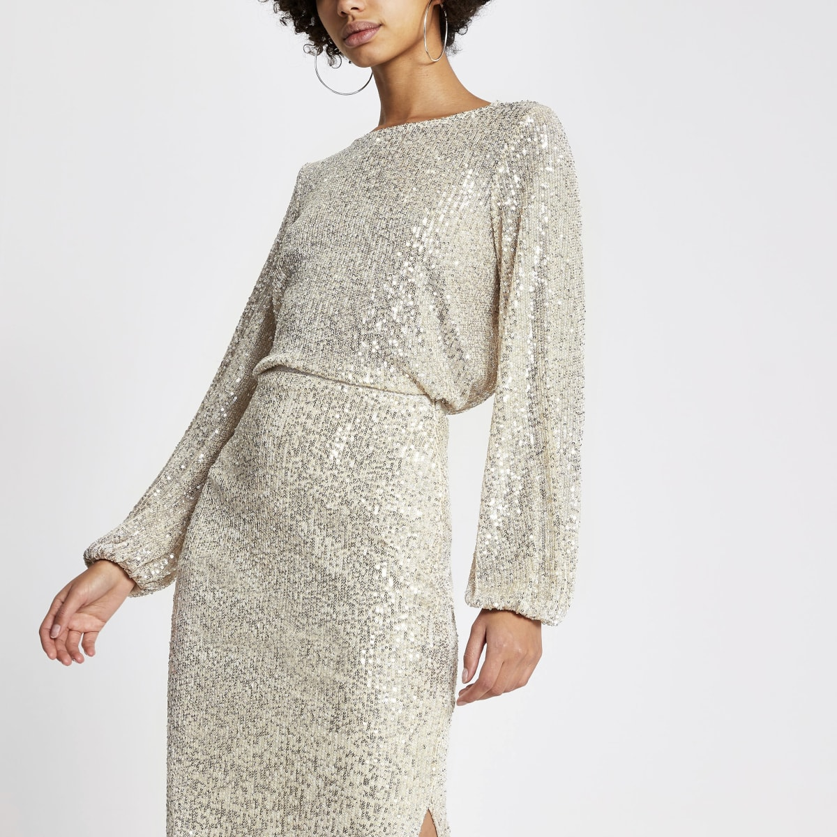 Silver sequin long balloon sleeve top