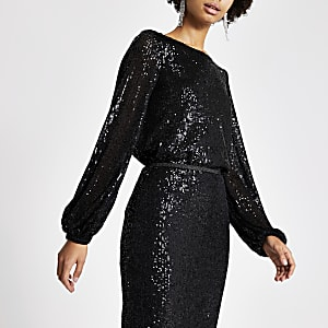 Black sequin long sheer balloon sleeve top